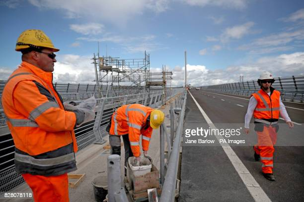 Final works are carried out on the Queensferry Crossing the new road bridge over the Firth of Forth South Queensferry ahead of the official opening...