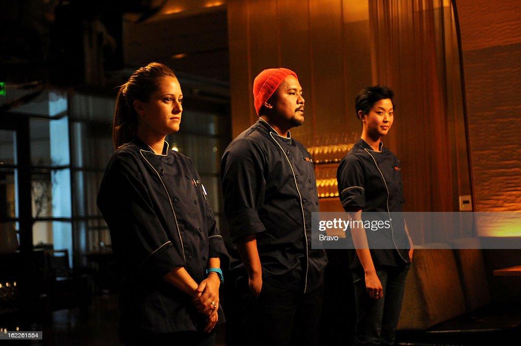 TOP CHEF -- 'Finale Part 1' Episode 1016 -- Pictured: (l-r) Contestants Brooke Williamson; Sheldon Simeon, Kristen Kish at judges' table --