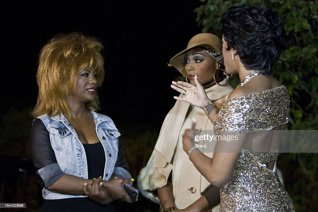 ATLANTA --'Finale Party' --Pictured: (l-r) Kandi Burruss as Tina Turner, Cynthia Bailey as Diana Ross, Porsha Stewart as Dorothy Dandridge --