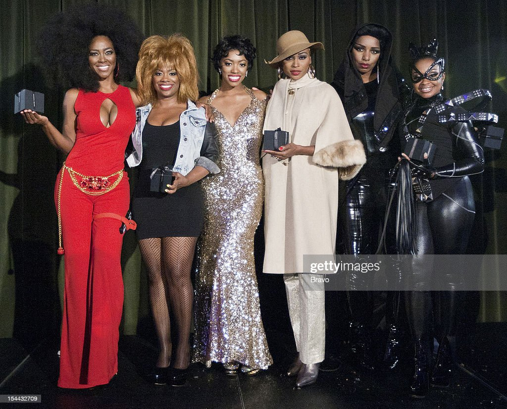 ATLANTA --'Finale Party' --Pictured: (l-r) Kenya Moore as Diana Ross, Kandi Burruss as Tina Turner, Porsha Stewart as Dorothy Dandridge, Cynthia Bailey as Diana Ross, NeNe Leakes as Grace Jones, Phaedra Parks as Catwoman --