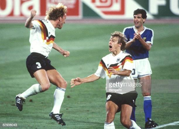 WM 1990 Finale Rom ARGENTINIEN DEUTSCHLAND 01 DEUTSCHLAND WELTMEISTER Jubel Andreas BREHME Juergen KLINSMANN/GER