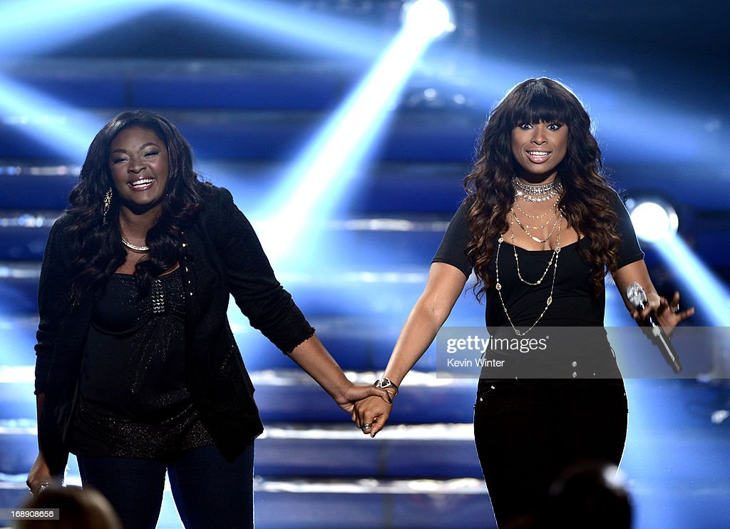 Finalist Candice Glover (L) and singer Jennifer Hudson perform onstage during Fox's 'American Idol 2013' Finale Results Show at Nokia Theatre L.A. Live on May 16, 2013 in Los Angeles, California.