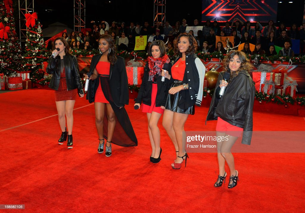 Finalist <a gi-track='captionPersonalityLinkClicked' href=/galleries/search?phrase=Fifth+Harmony&family=editorial&specificpeople=9960104 ng-click='$event.stopPropagation()'>Fifth Harmony</a> arrive at Fox's 'The X Factor' Season Finale Night 1 at CBS Television City on December 19, 2012 in Los Angeles, California.