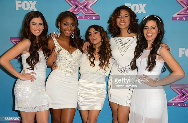 Finalist Fifth Harmony Lauren Juaregui Normani Kordei Ally Booke Dinah Jane Hansen Camila Cabello arrives at Fox's 'The X Factor' Season Finale Night...