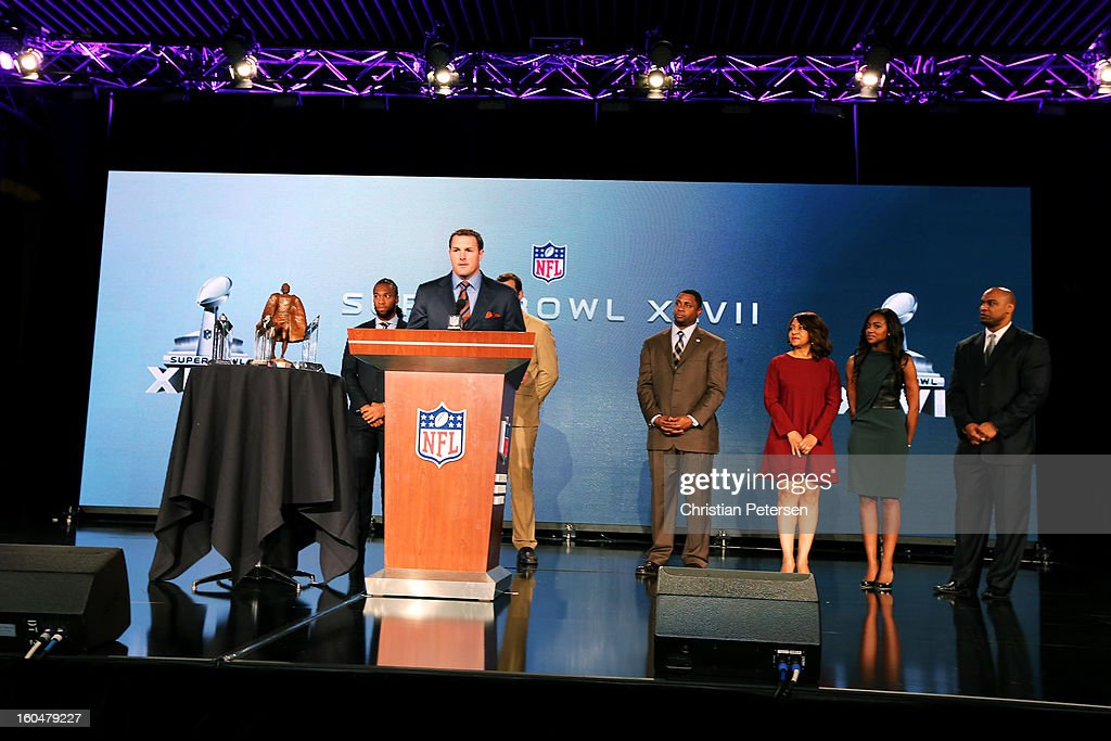 Finalist for the Walter Payton Man of the Year award, <a gi-track='captionPersonalityLinkClicked' href=/galleries/search?phrase=Jason+Witten&family=editorial&specificpeople=212871 ng-click='$event.stopPropagation()'>Jason Witten</a> of the Dallas Cowboys speaks during a press conference for Super Bowl XLVII at the Ernest N. Morial Convention Center on February 1, 2013 in New Orleans, Louisiana.