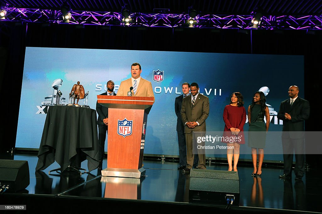 Finalist for the Walter Payton Man of the Year award, Joe Thomas of the Cleveland Browns speaks during a press conference for Super Bowl XLVII at the Ernest N. Morial Convention Center on February 1, 2013 in New Orleans, Louisiana.