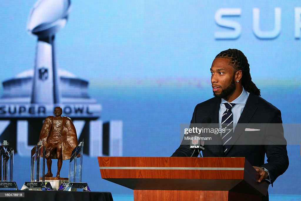 Finalist for the Walter Payton Man of the Year award, <a gi-track='captionPersonalityLinkClicked' href=/galleries/search?phrase=Larry+Fitzgerald&family=editorial&specificpeople=183380 ng-click='$event.stopPropagation()'>Larry Fitzgerald</a> of the Arizona Cardinals speaks during a press conference for Super Bowl XLVII at the Ernest N. Morial Convention Center on February 1, 2013 in New Orleans, Louisiana.