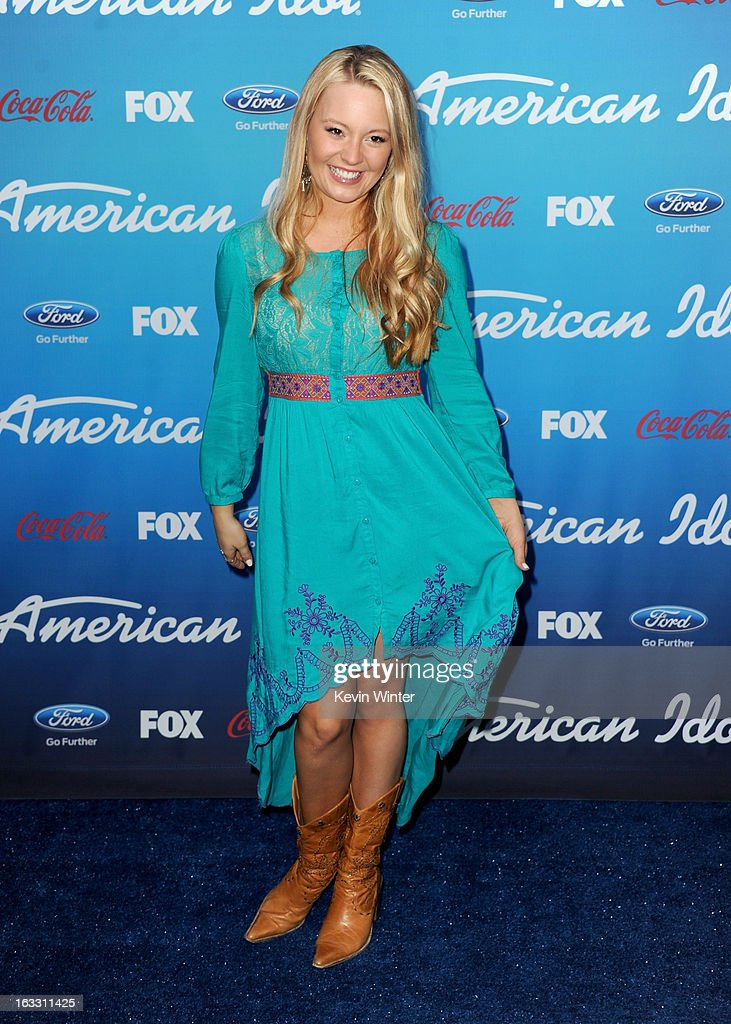 Finalist Janelle Arthur attends the FOX 'American Idol' finalists party at The Grove on March 7, 2013 in Los Angeles, California.