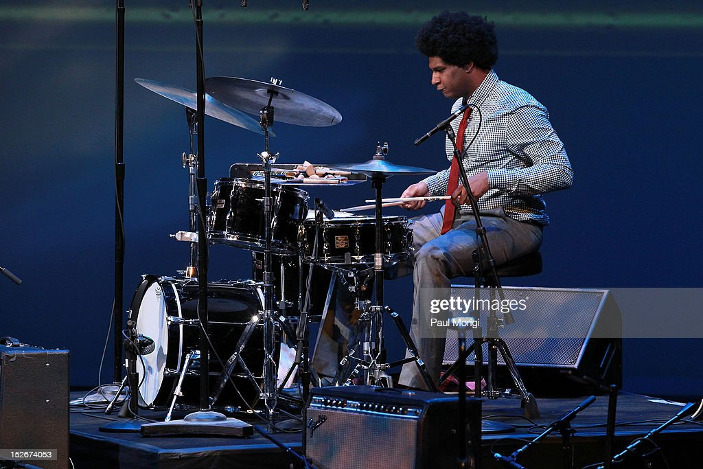 Finalist Justin Brown performs at the Thelonious Monk International Jazz Drums Competition and Gala Concert at The Kennedy Center on September 23, 2012 in Washington, DC.