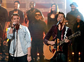 Finalist Nick Fradiani and singer/songwriter Andy Grammer perform onstage during 'American Idol' XIV Grand Finale at Dolby Theatre on May 13 2015 in...