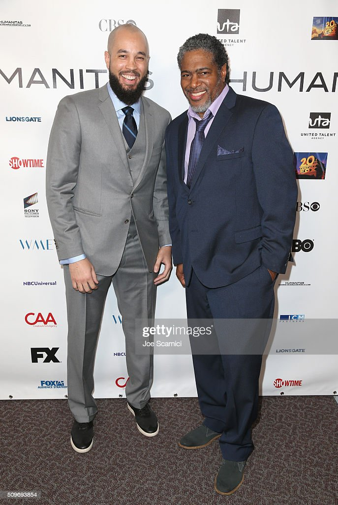 Finalist Peter Saji for 'Blackish' and President of the Humanitas Awards Ali LeRoi attend the 41st Humanitas Prize Awards Ceremony at Directors Guild Of America on February 11, 2016 in Los Angeles, California.