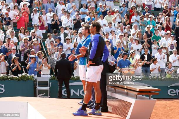Finalist Stan Wawrinka and Winner of 10 Roland Garros and of the 2017 edition Rafael Nadal stand after the Men Final of the 2017 French Tennis Open...