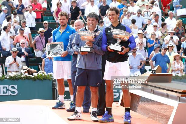 Finalist Stan Wawrinka President of French Tennis Federation Bernard Giudicelli Uncle and Trainer of Rafael nadal Toni nadal and Winner of 10 Roland...