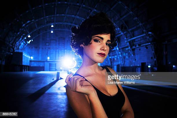 Finalist Tahnee Atkinson dressed as Elizabeth Taylor poses during a photo shoot challenge during episode 8 of the fifth series of Australia's Next...