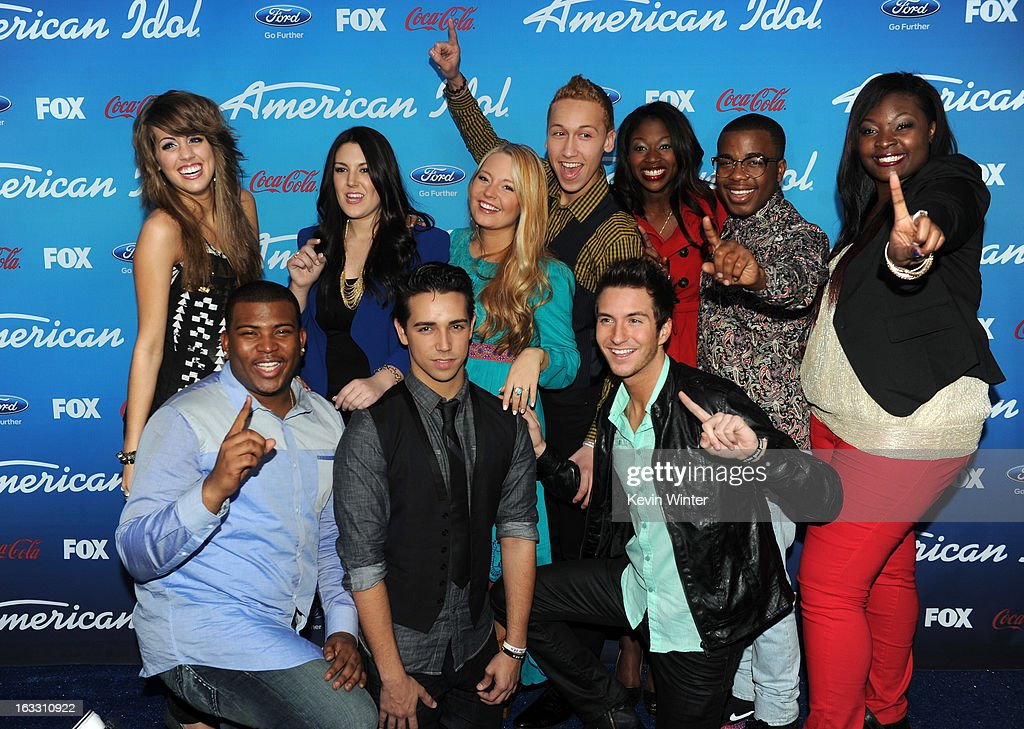 Finalists Angie Miller, Kree Harrison, Janelle Arthur, Devin Velez, Amber Holcomb, Burnell Taylor, Candice Glover (Bottom L-R) Curtis Finch Jr., Lazaro Arbos, and Paul Jolley attend the FOX 'American Idol' finalists party at The Grove on March 7, 2013 in Los Angeles, California.