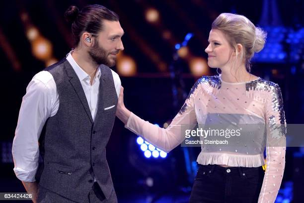 Finalists Axel Maximilian Feige and Isabella 'Levina' Lueen attend the 'Eurovision Song Contest 2017 Unser Song' show on February 9 2017 in Cologne...