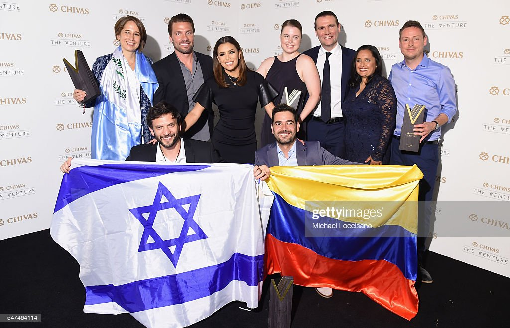 Finalists, Maria Pacheco, Kenny Ewan, Or Retzkin, Julia Romer and Oscar Andres Mendez join judges, Eva Longoria, Joe Huff, Sonal Shah and Alexandre Ricard at Chivas' The Venture Final Event on July 14, 2016 in New York City.