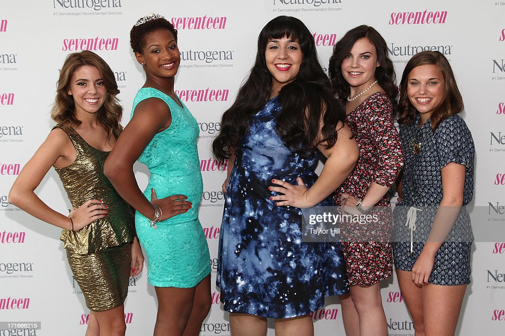 Finalists Paige Rawl, Kay-Ci Bele, Ant Roman, Stacey Ferreira, and Paige McKenzie attend the Seventeen Magazine Luncheon Honoring 'Pretty Amazing' Finalists at Hearst Tower on June 27, 2013 in New York City.