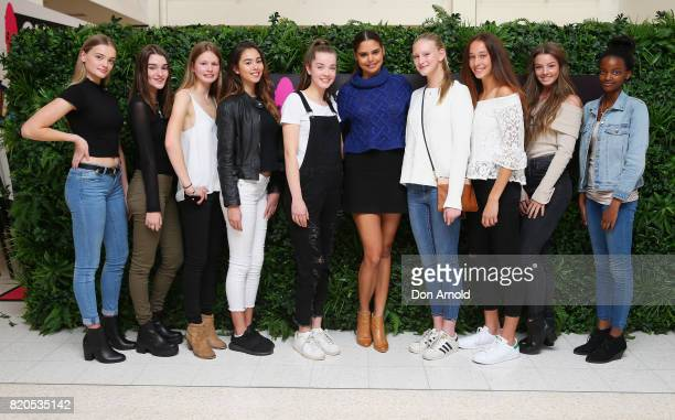 NSW finalists pose alongside Samantha Harris during the 2017 Girlfriend Priceline Pharmacy Model Search on July 22 2017 in Sydney Australia