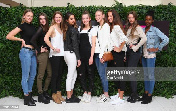 NSW finalists pose during the 2017 Girlfriend Priceline Pharmacy Model Search on July 22 2017 in Sydney Australia