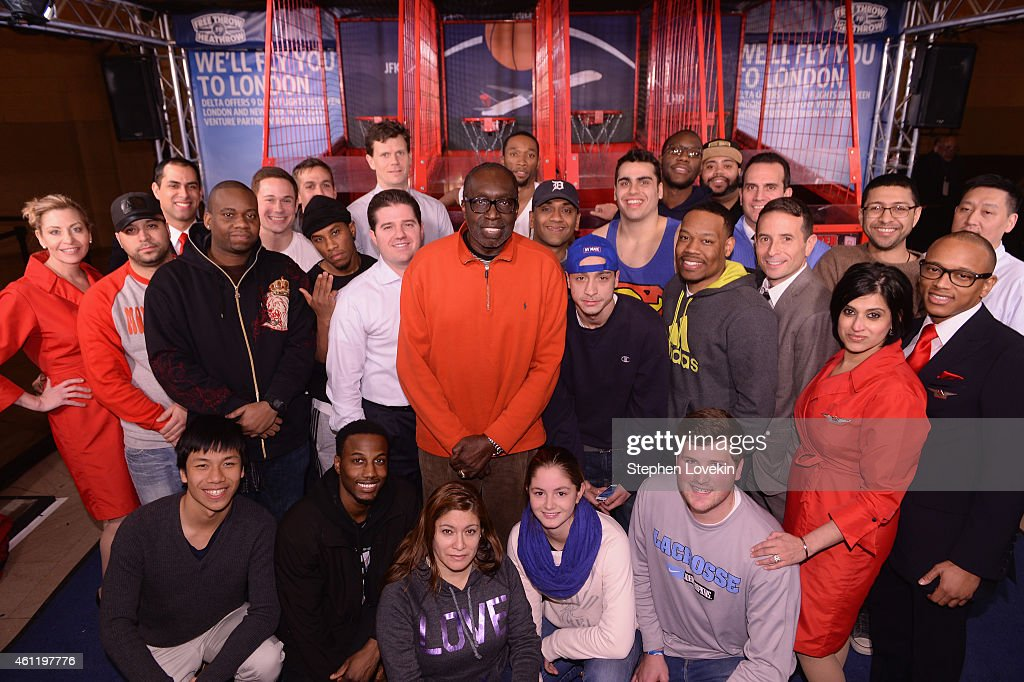 Finalists pose with Knicks Legend Earl Monroe as Delta Air Lines hosts the 'Free Throw To Heathrow' event celebrating the New York Knicks return to...