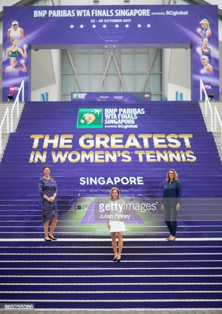Finals Legend Ambassadors Lindsay Davenport of the United States Arantxa Sanchez Vicario of Spain and Mary Pierce of France pose during day 2 of the...