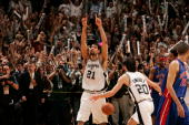 Finals MVP Tim Duncan and Manu Ginobili of the San Antonio Spurs celebrate winning the 2005 NBA Championship with the Spurs 8174 win against the...