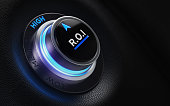 Finance and investment concept. ROI labeled button on car dashboard. There is ROI text on the button and it is pointing high efficiency. Horizontal composition with copy space and selective focus.