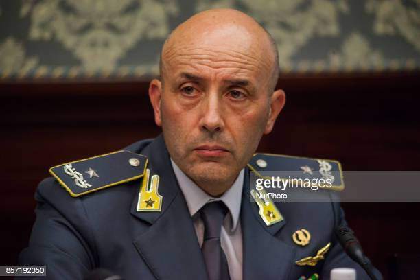 Finance Guard Commander Gianluigi D'Alfonso during Police press conference to the prefect for bilance of the blitz to day in Scampia Napoli Italy on...