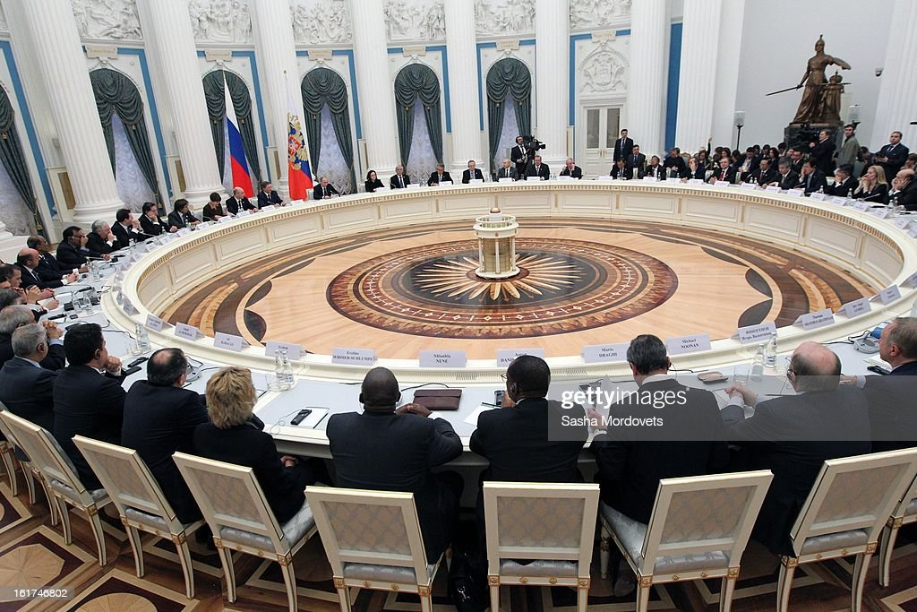 G20 finance leaders meet in the Kremlin February 15, 2013 in Moscow, Russia. The G20 countries, that make up 90 percent of the worlds gross domestic product, is reportedly set to be dominated by the issue of counties using their currency fro economic gain over the weekend of meetings.