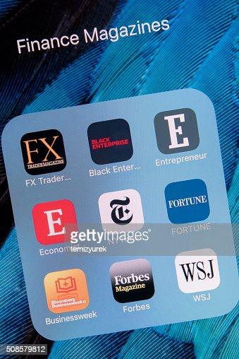 Finance Magazines  apps on Apple iPhone 6S Plus Screen : Stockfoto