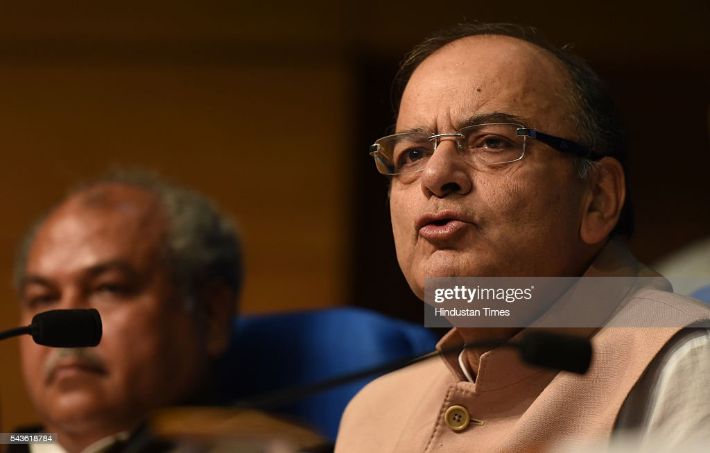 Finance Minister Arun Jaitley addressing the media on Seventh Pay Commission implementation at National Media center on June 29, 2016 in New Delhi, India. In a bonanza, one crore government employees and pensioners will get a 2.5 times hike in basic pay and pensions under the 7th Pay Commission recommendations that will cost the exchequer annually Rs 1.02 lakh crore, which the government says will have a multiplier effect on economy.