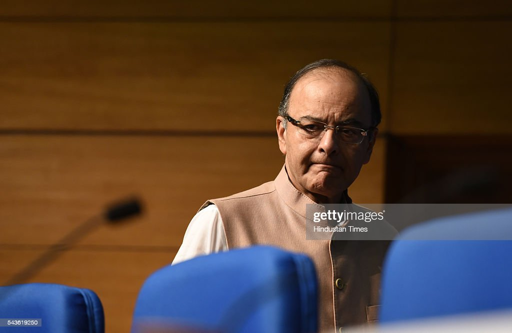 Finance Minister Arun Jaitley addressing the media on the Seventh Pay Commission implementation at National Media center on June 29, 2016 in New Delhi, India. In a bonanza, one crore government employees and pensioners will get a 2.5 times hike in basic pay and pensions under the 7th Pay Commission recommendations that will cost the exchequer annually Rs 1.02 lakh crore, which the government says will have a multiplier effect on economy.