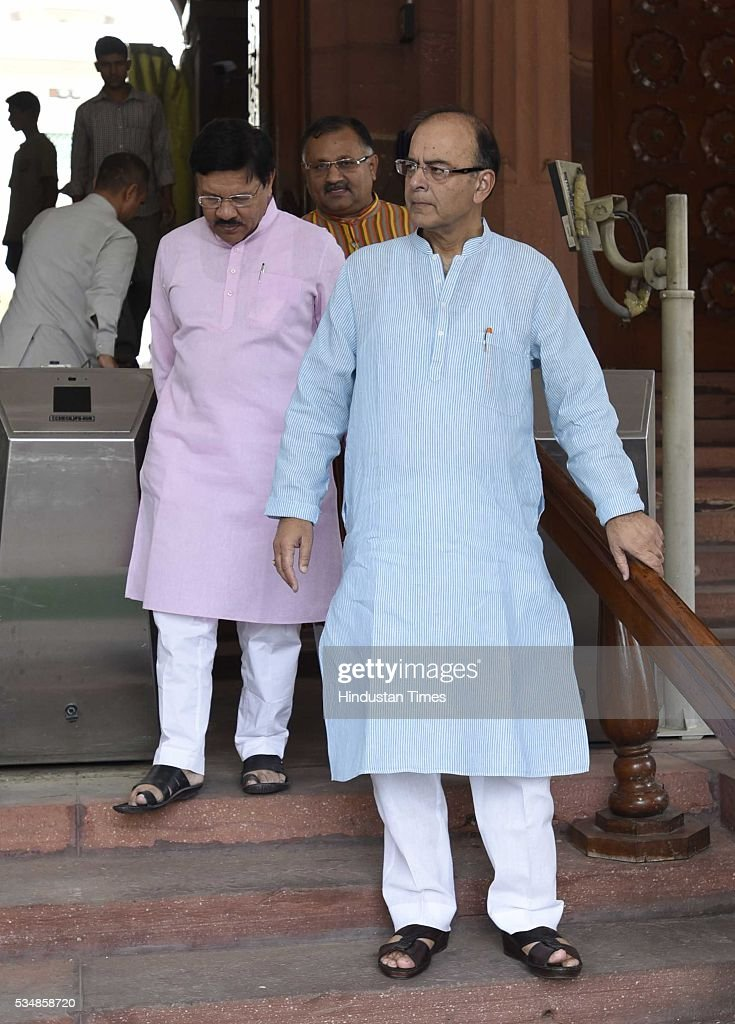 Finance Minister Arun Jaitley after paying tribute to right-wing ideologue Veer Savarkar on his 133 birth anniversary, at Central Hall of Parliament House, on May 28, 2016 in New Delhi, India. Born on May 28, 1883 in Nashik in Maharashtra, Vinayak Damodar Savarkar, later known as Swatantraveer Savarkar, was a revolutionary and Hindu nationalist who was imprisoned by the British in the Cellular Jail in Andaman and Nicobar Islands.