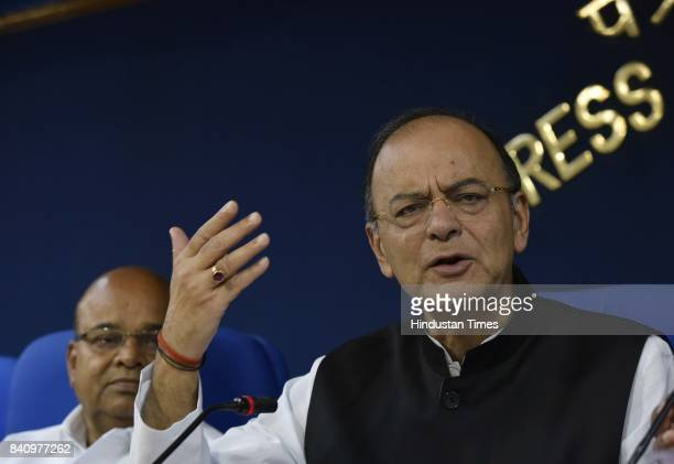 Finance Minister Arun Jaitley briefs the media after cabinet meeting on August 30 2017 in New Delhi India Finance Minister Arun Jaitley said that the...