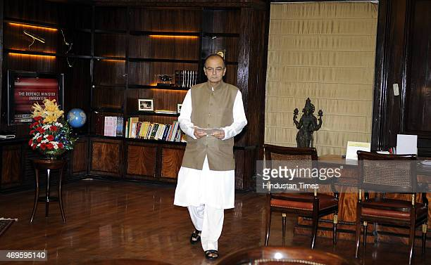 Finance Minister Arun Jaitley during a meeting with Australian Foreign Minister Julie Isabel Bishop on April 13 2015 in New Delhi India India is at...