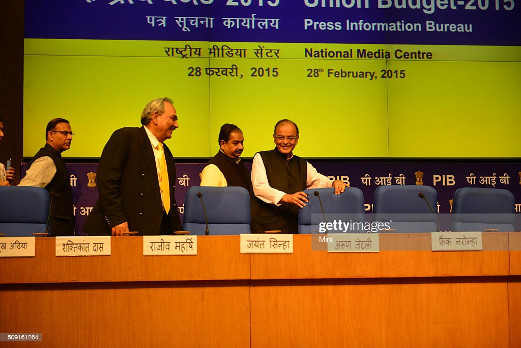 Finance Minister Arun Jaitley in post budget press conference on February 28, 2015 in New Delhi, India.