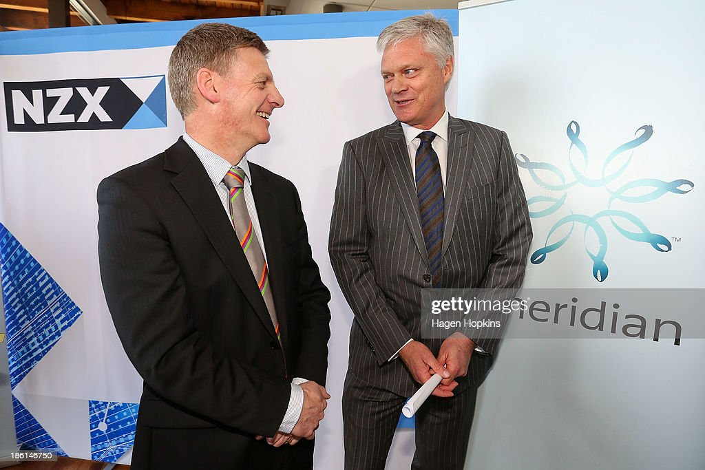 Finance minister Bill English and Meridian Energy CEO Mark Binns speak soon after the listing of Meridian Energy at NZX on October 29 2013 in...