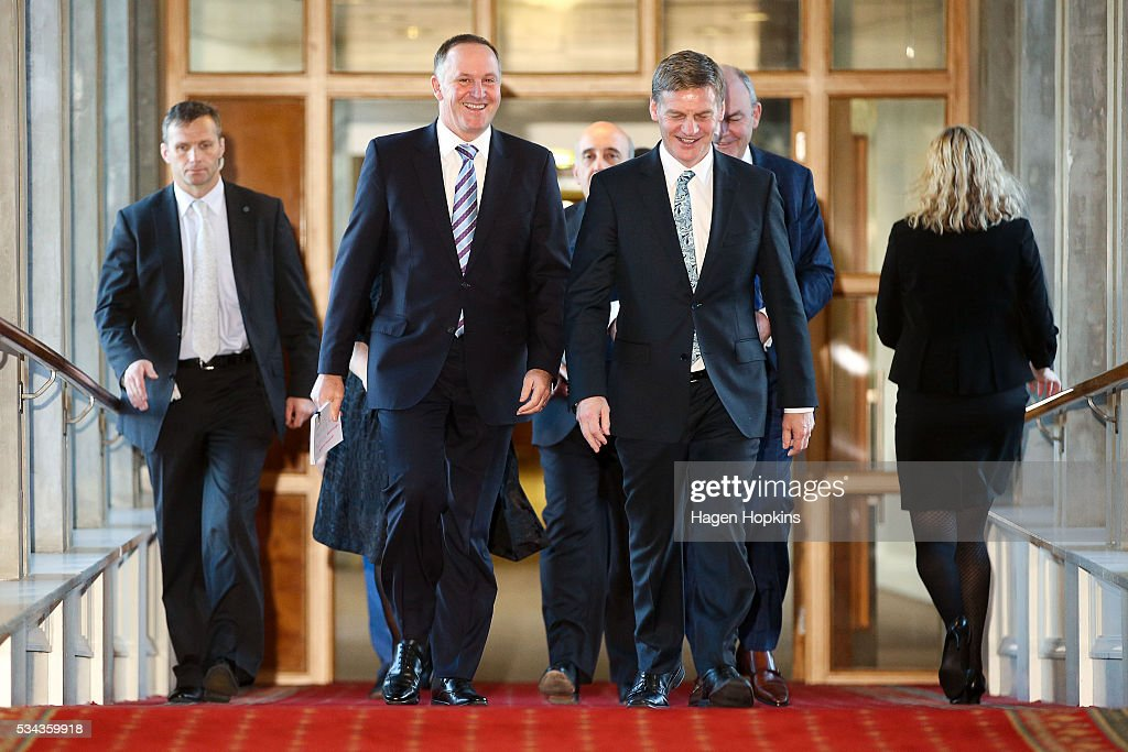 Finance Minister <a gi-track='captionPersonalityLinkClicked' href=/galleries/search?phrase=Bill+English&family=editorial&specificpeople=772458 ng-click='$event.stopPropagation()'>Bill English</a> and Prime Minister <a gi-track='captionPersonalityLinkClicked' href=/galleries/search?phrase=John+Key&family=editorial&specificpeople=2246670 ng-click='$event.stopPropagation()'>John Key</a> walk to the House during the 2016 budget presentation at Parliament on May 26, 2016 in Wellington, New Zealand. English delivered his eighth budget which sees record investment in health and education and more support for businesses to create jobs on the back of a growing economy.