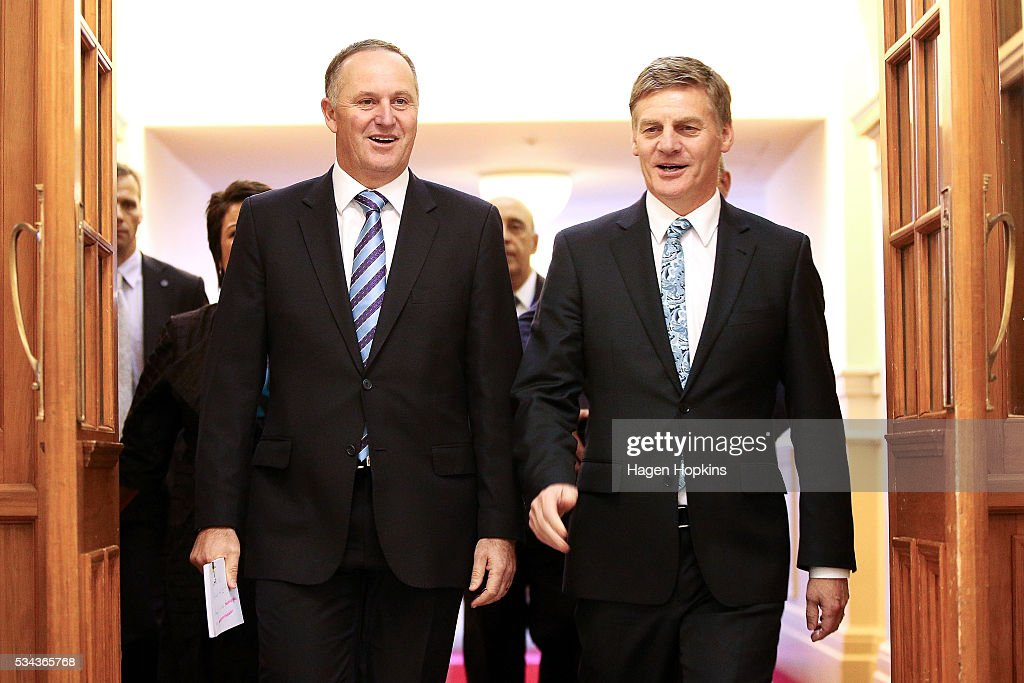 Finance Minister <a gi-track='captionPersonalityLinkClicked' href=/galleries/search?phrase=Bill+English&family=editorial&specificpeople=772458 ng-click='$event.stopPropagation()'>Bill English</a> and Prime Minister <a gi-track='captionPersonalityLinkClicked' href=/galleries/search?phrase=John+Key&family=editorial&specificpeople=2246670 ng-click='$event.stopPropagation()'>John Key</a> walk to the House during the 2016 budget presentation at Parliament on May 26, 2016 in Wellington, New Zealand. Finance Minister <a gi-track='captionPersonalityLinkClicked' href=/galleries/search?phrase=Bill+English&family=editorial&specificpeople=772458 ng-click='$event.stopPropagation()'>Bill English</a> his eighth budget sees record investment in health and education and more support for businesses to create jobs on the back of a growing economy.
