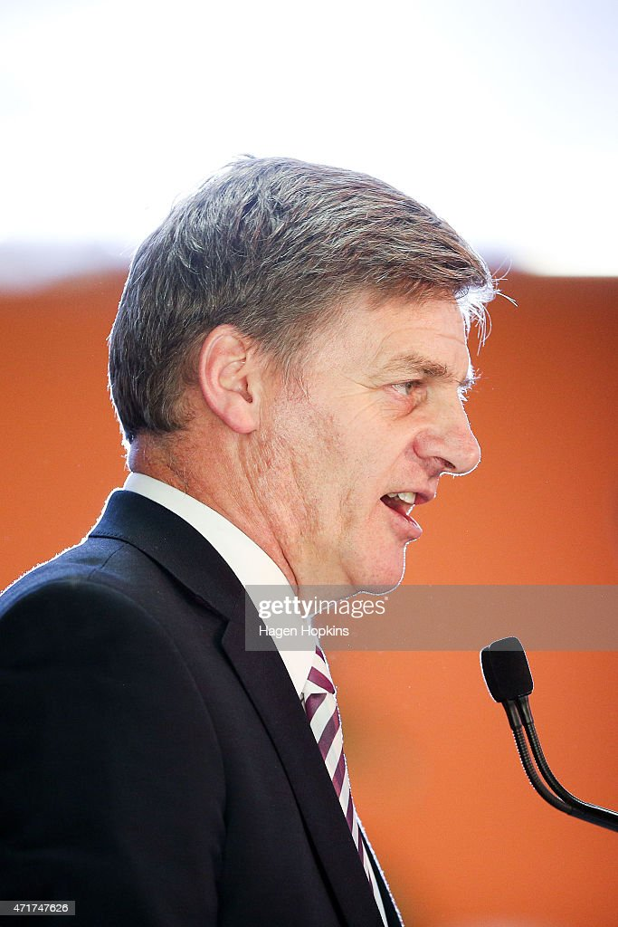 Finance Minister Bill English delivers a PreBudget Speech at Westpac Stadium on May 1 2015 in Wellington New Zealand New Zealand's Minister of...