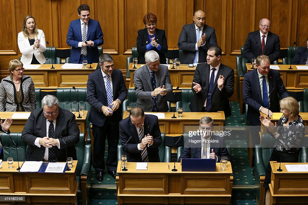 Finance Minister Bill English gives the thumbs up after after his speech during the 2015 budget presentation at Parliament House on May 21 2015 in...