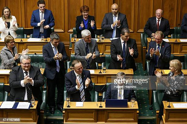 Finance Minister Bill English is applauded at the end of his speech during the 2015 budget presentation at Parliament House on May 21 2015 in...