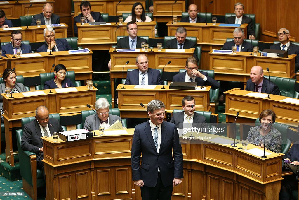 Finance Minister <a gi-track='captionPersonalityLinkClicked' href=/galleries/search?phrase=Bill+English&family=editorial&specificpeople=772458 ng-click='$event.stopPropagation()'>Bill English</a> looks on during the 2016 budget presentation at Parliament on May 26, 2016 in Wellington, New Zealand. English delivered his eighth budget which sees record investment in health and education and more support for businesses to create jobs on the back of a growing economy.