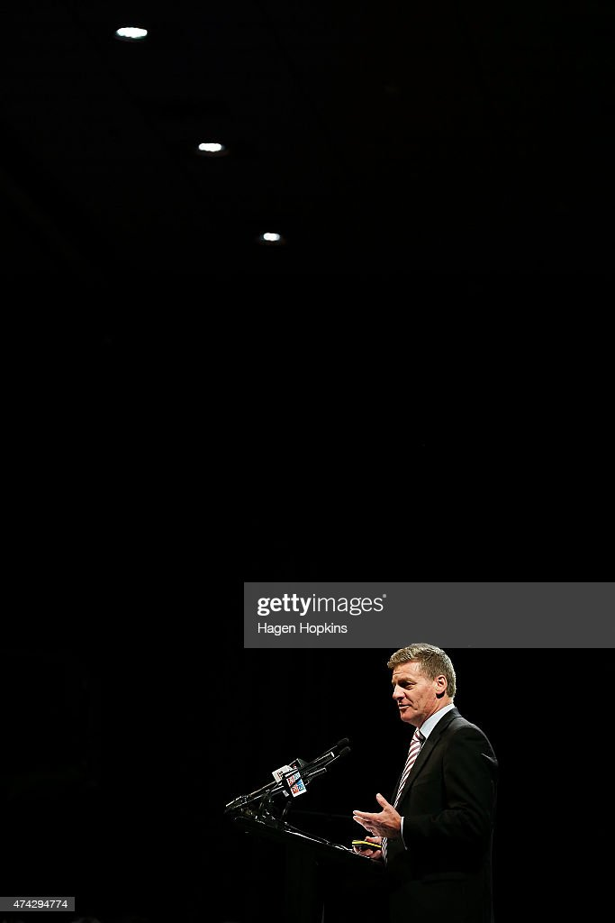 Finance Minister Bill English speaks during a postbudget breakfast at Queen's Wharf on May 22 2015 in Wellington New Zealand The National party...