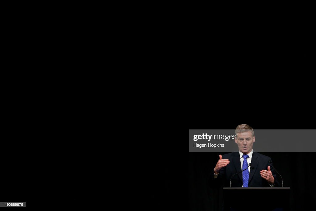 Finance Minister Bill English speaks during a postbudget breakfast at Queen's Wharf on May 16 2014 in Wellington New Zealand The National party...