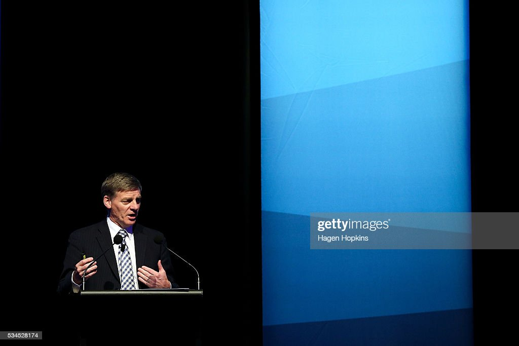 Finance Minister Bill English speaks during a postbudget breakfast at Te Papa on May 27 2016 in Wellington New Zealand The National party government...
