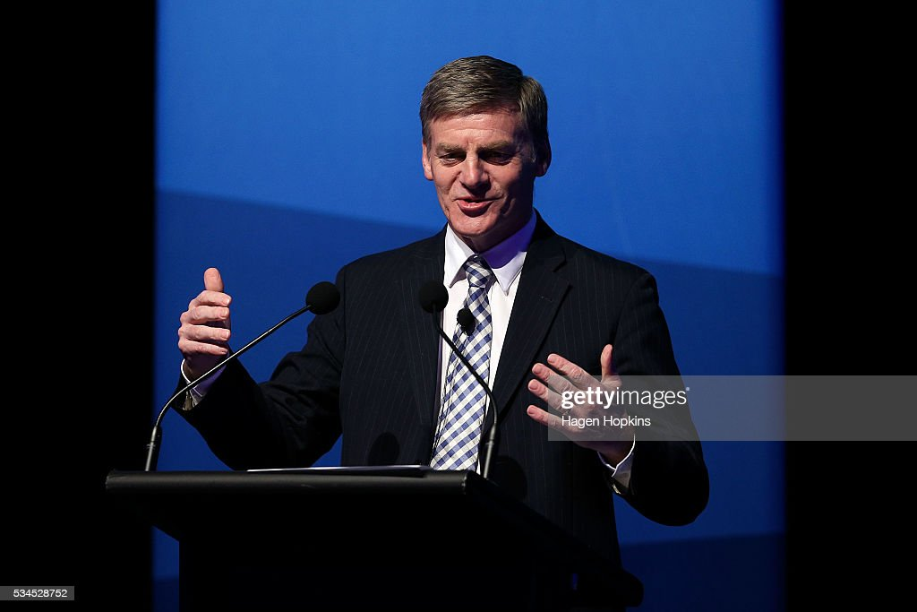 Finance Minister Bill English speaks during a post-budget breakfast at Te Papa on May 27, 2016 in Wellington, New Zealand. The National party government yesterday delivered the budget, unveiling $761m in new spending for science and innovation, $2.2b investment in new health initiatives, along with investments in housing for Auckland and an increase in tobacco tax.