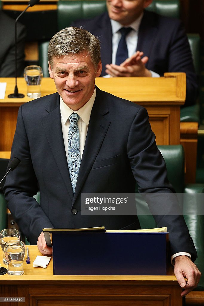 Finance Minister <a gi-track='captionPersonalityLinkClicked' href=/galleries/search?phrase=Bill+English&family=editorial&specificpeople=772458 ng-click='$event.stopPropagation()'>Bill English</a> speaks during the 2016 budget presentation at Parliament on May 26, 2016 in Wellington, New Zealand. English delivered his eighth budget which sees record investment in health and education and more support for businesses to create jobs on the back of a growing economy.