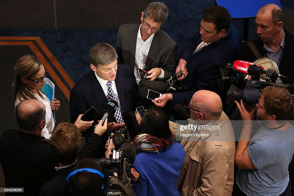Finance Minister <a gi-track='captionPersonalityLinkClicked' href=/galleries/search?phrase=Bill+English&family=editorial&specificpeople=772458 ng-click='$event.stopPropagation()'>Bill English</a> speaks to media during a post-budget breakfast at Te Papa on May 27, 2016 in Wellington, New Zealand. The National party government yesterday delivered the budget, unveiling $761m in new spending for science and innovation, $2.2b investment in new health initiatives, along with investments in housing for Auckland and an increase in tobacco tax.